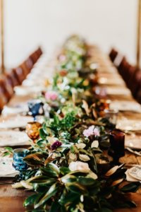 Wedding reception boho tablescape
