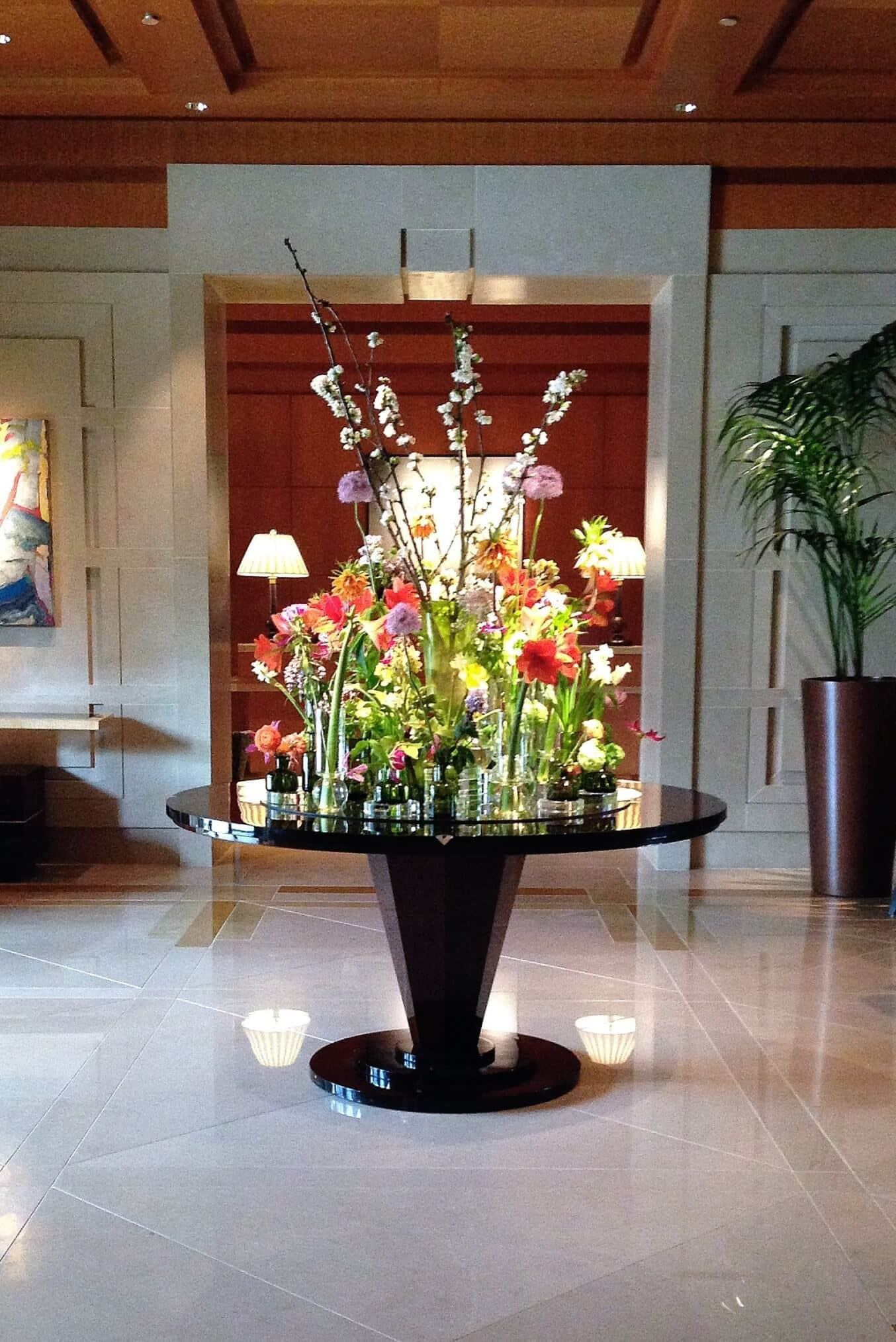 Lobby flowers at The Umstead Hotel and Spa