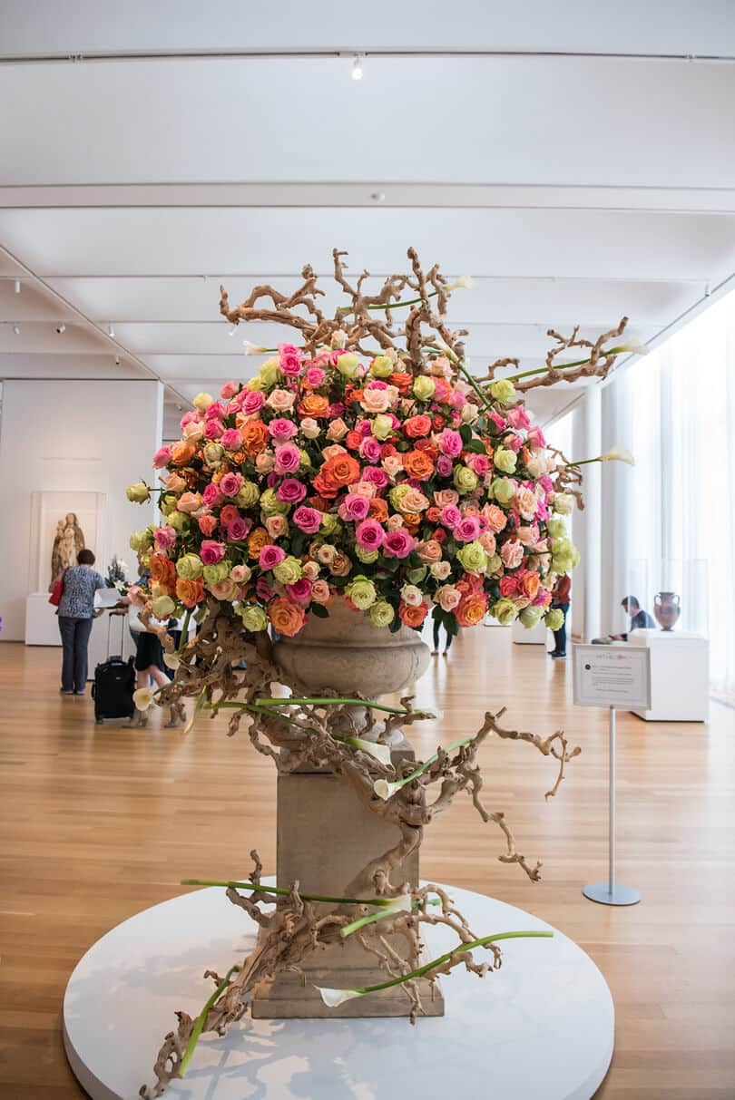 Neon colored roses for the NC Museum of Art's Art In Bloom event