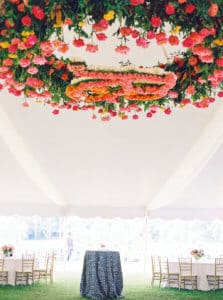 Floral monogram chandelier with hot pink flowers