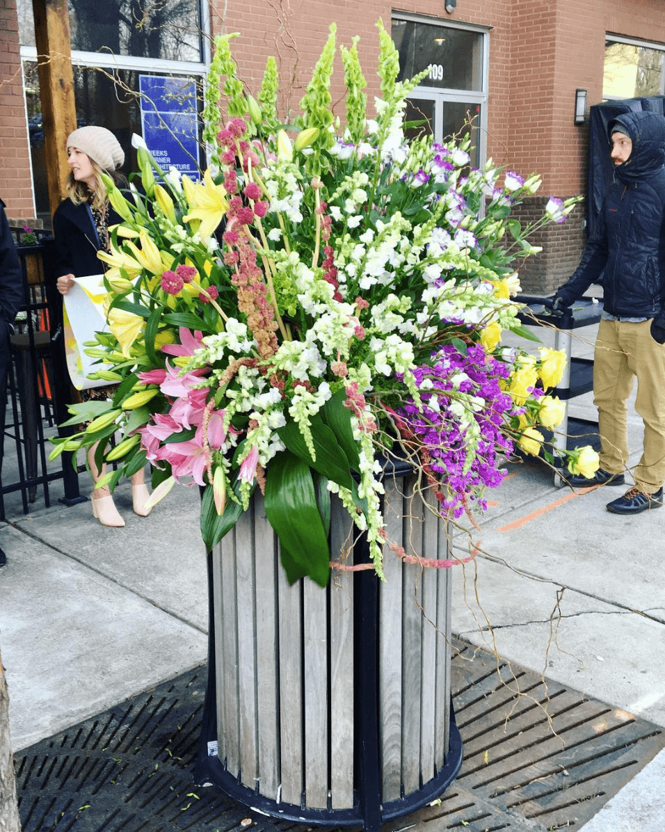 Trashcan bouquet in downtown Raleigh for the NC Museum of Art's Art In Bloom event
