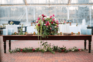 Tented wedding reception flowers