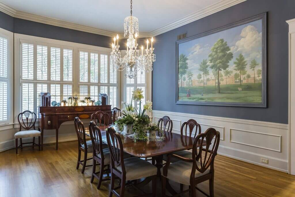 Floral table arrangement in traditional dining room