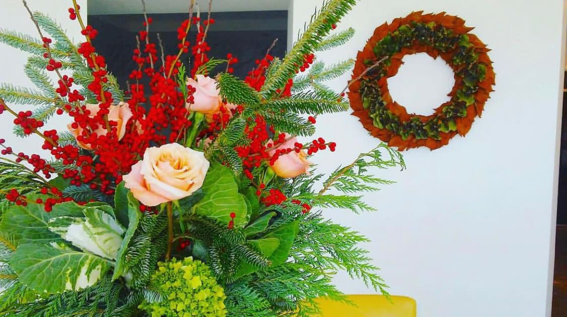 Holiday arrangement and wreath