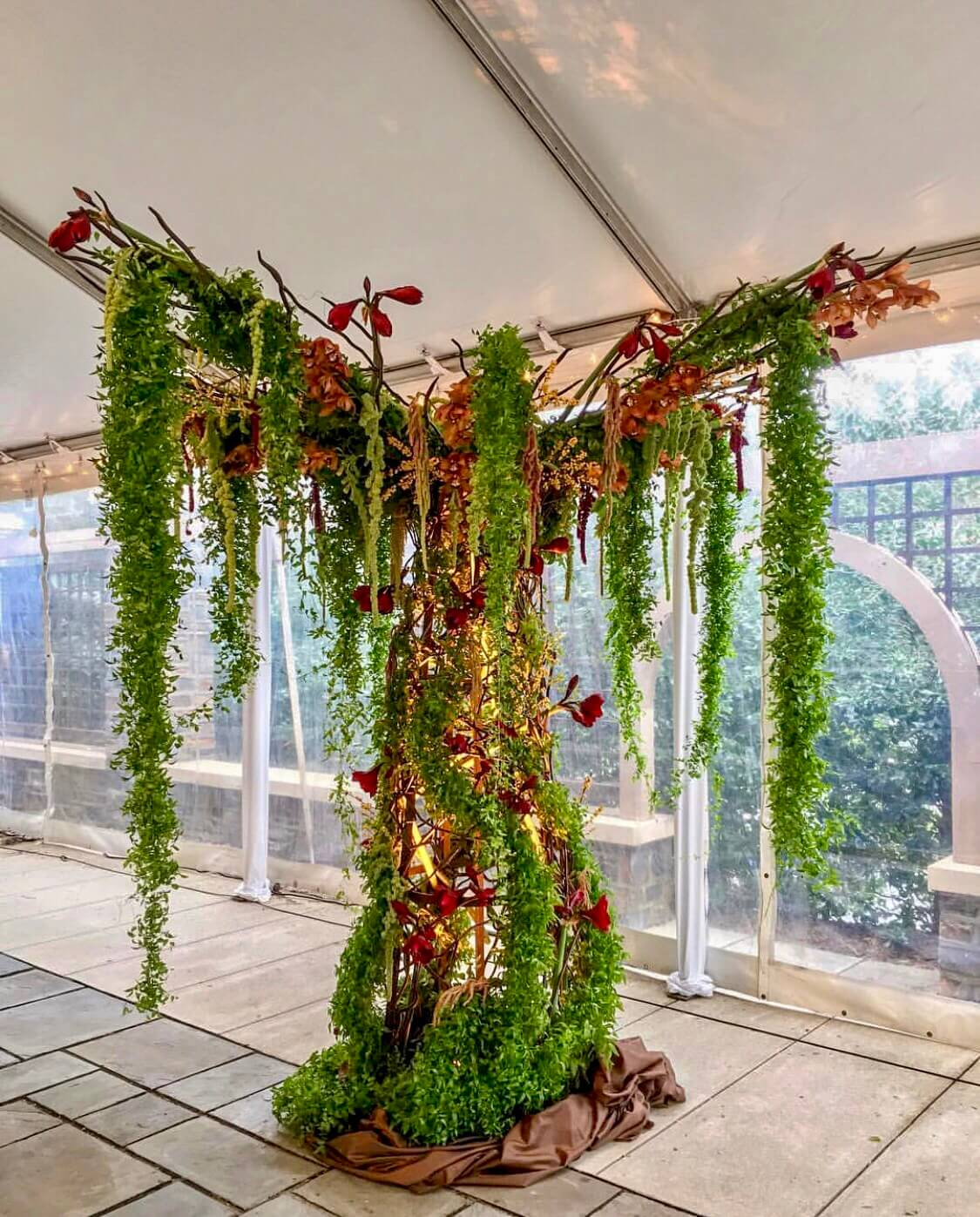 Whimsical tree floral installation