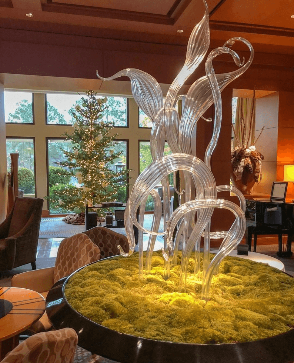 Christmas tree and Chihuly at The Umstead Hotel and Spa